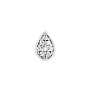 14ct White Gold Pear with Swarovski CZ Stones - Isha Body Jewellery