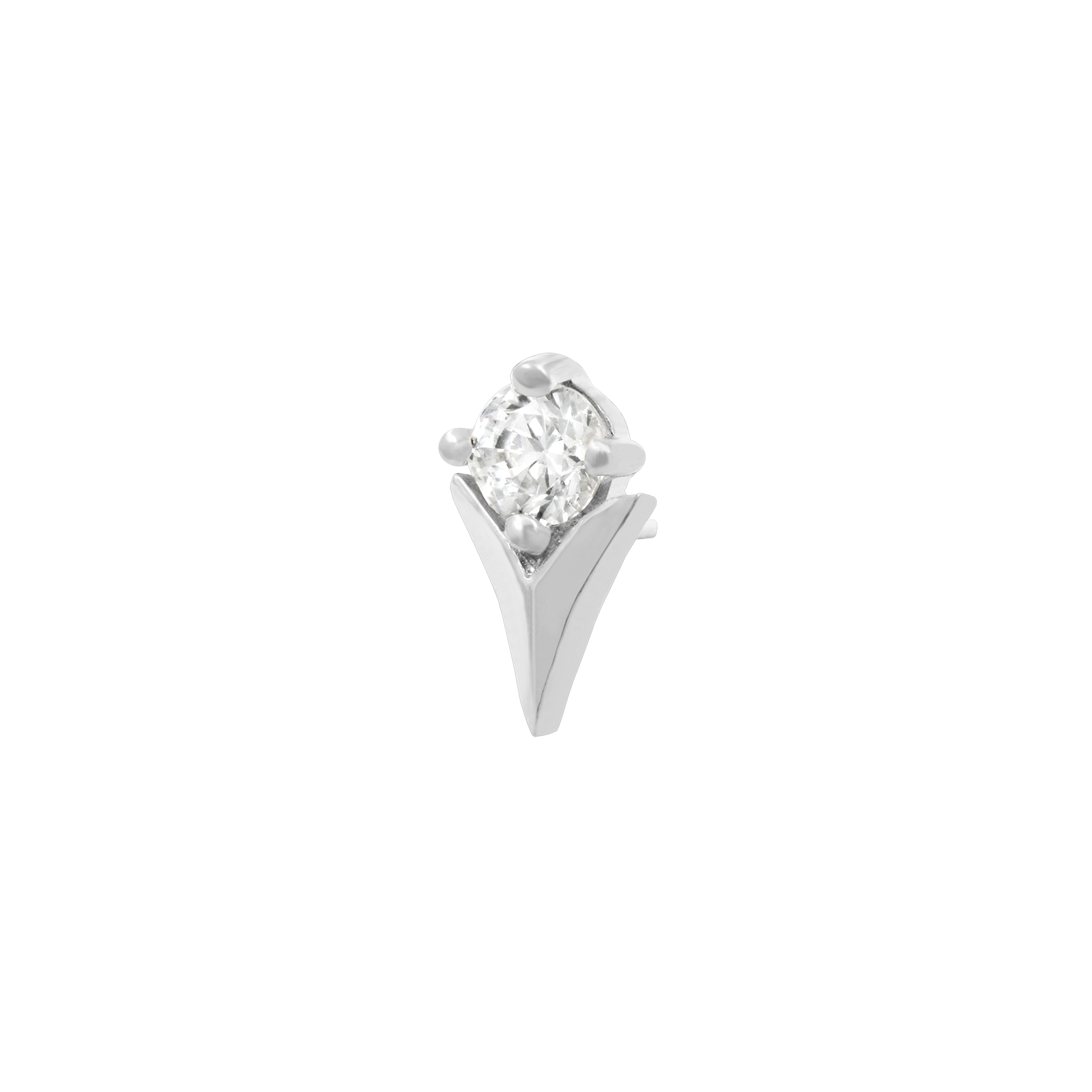 14ct White Gold Tulip with Swarovski CZ stone - Isha Body Jewellery