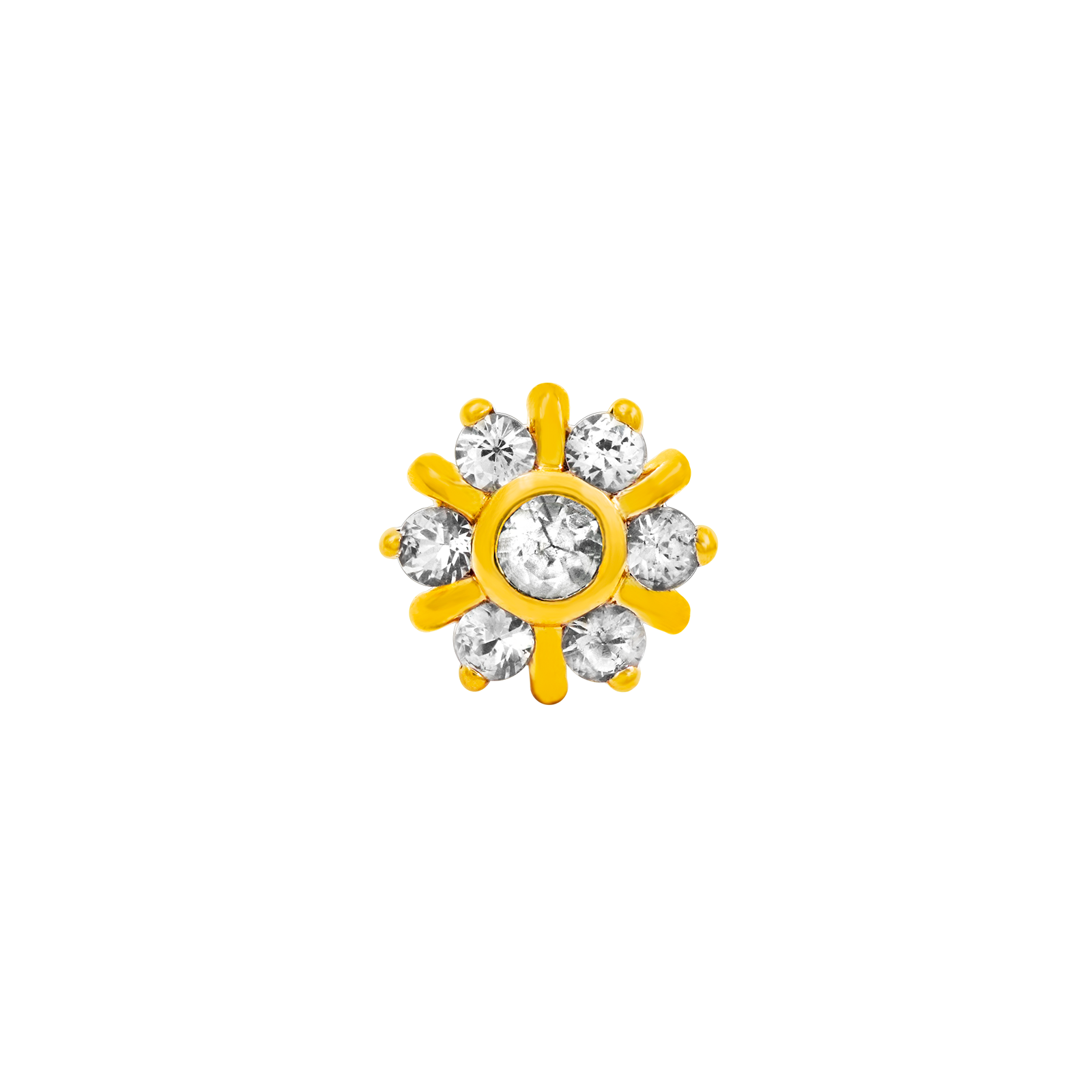14ct Gold 7 Gem Radiant CZ Cluster End - Isha Body Jewellery
