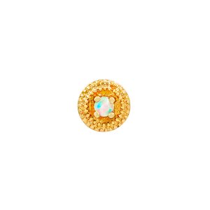 14ct Gold Round Double Millgrain with Opal End - Isha Body Jewellery