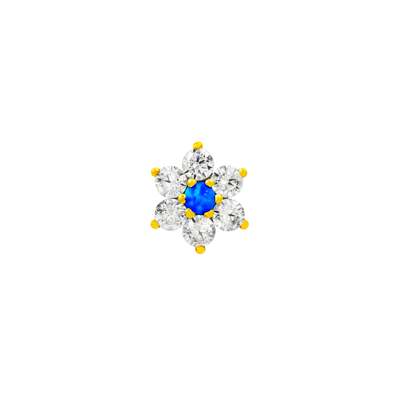 14ct Gold Flower with Swarovski & Blue Opal - Isha Body Jewellery