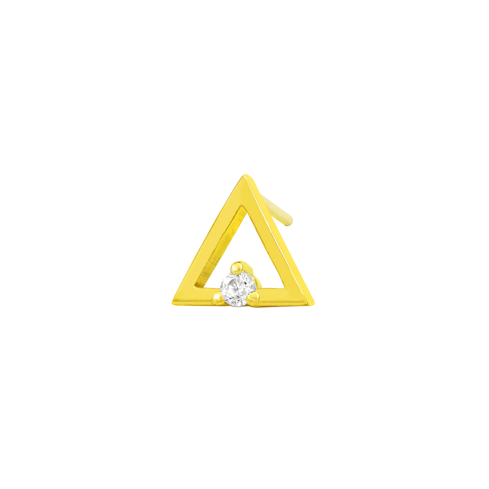14ct Gold Triangle with Swarovski CZ stone - Isha Body Jewellery