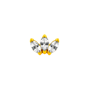 14ct Gold Triple Marquise Swarovski End