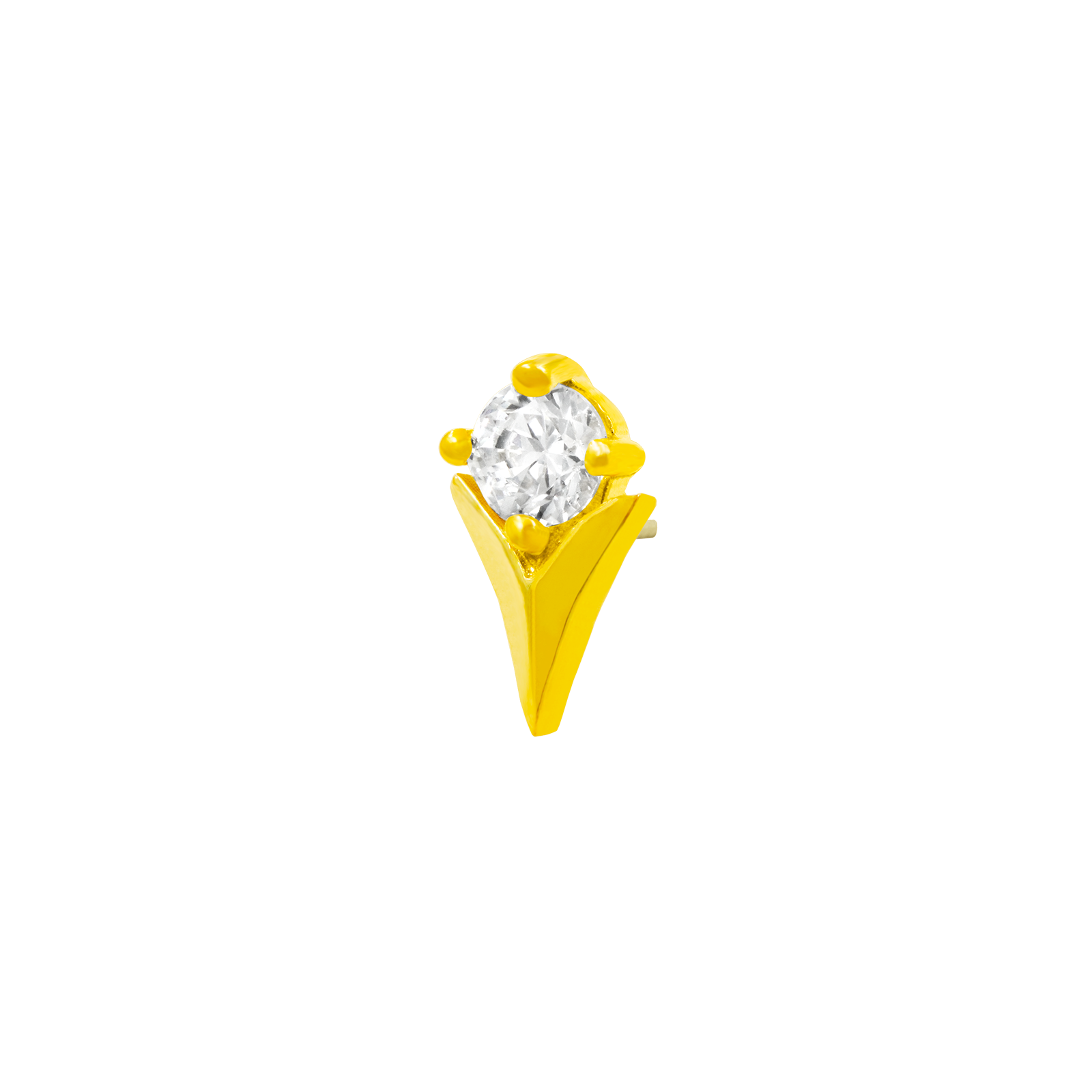 14ct Gold Tulip with Swarovski CZ stone - Isha Body Jewellery