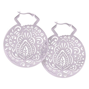 Steel Mehndi Hoop Earrings - Isha Body Jewellery