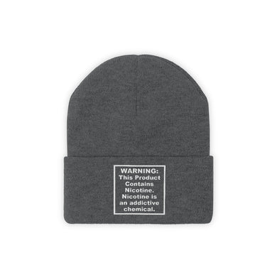 This Product Contains Nicotine Addictive Chemical Warning Beanie Hat