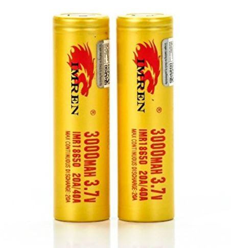 IMREN 18650 IMR 3000mAh 20A/40A 3.7V LiMN Battery - Gold Flat Top (2 pack)