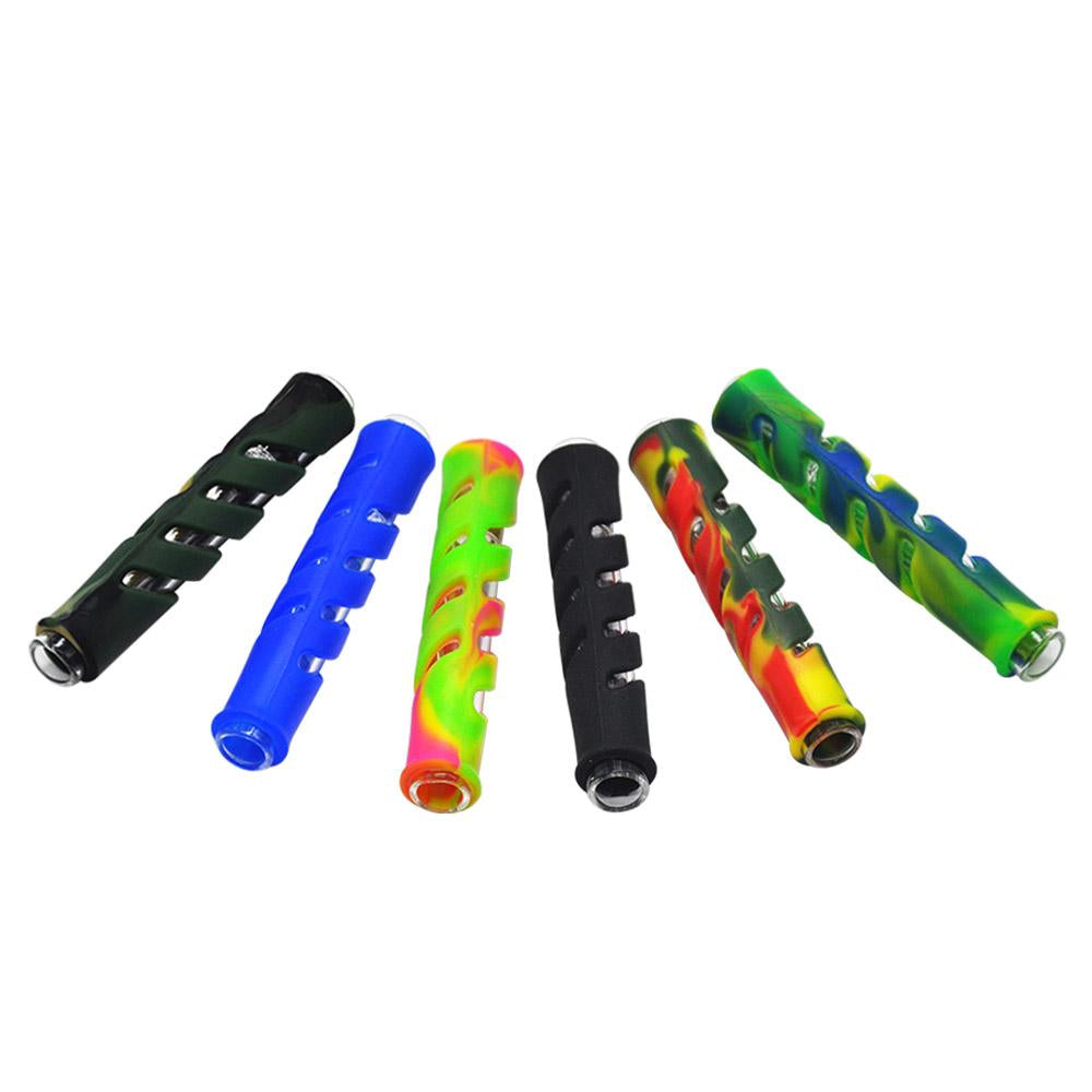 A1 Glass Pipe Chillum One-Hitter Tube Bowl for Smoking w/ Colorful Silicone Design Sleeve Protector