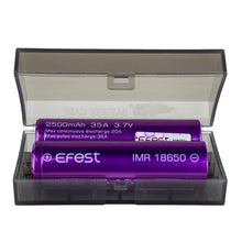 Load image into Gallery viewer, Efest 18650 IMR 2500mAh 35A 3.7V LiMN Battery - Purple Flat Top (2 pack+case)