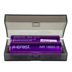 Efest 18650 IMR 2500mAh 35A 3.7V LiMN Battery - Purple Flat Top (2 pack+case)