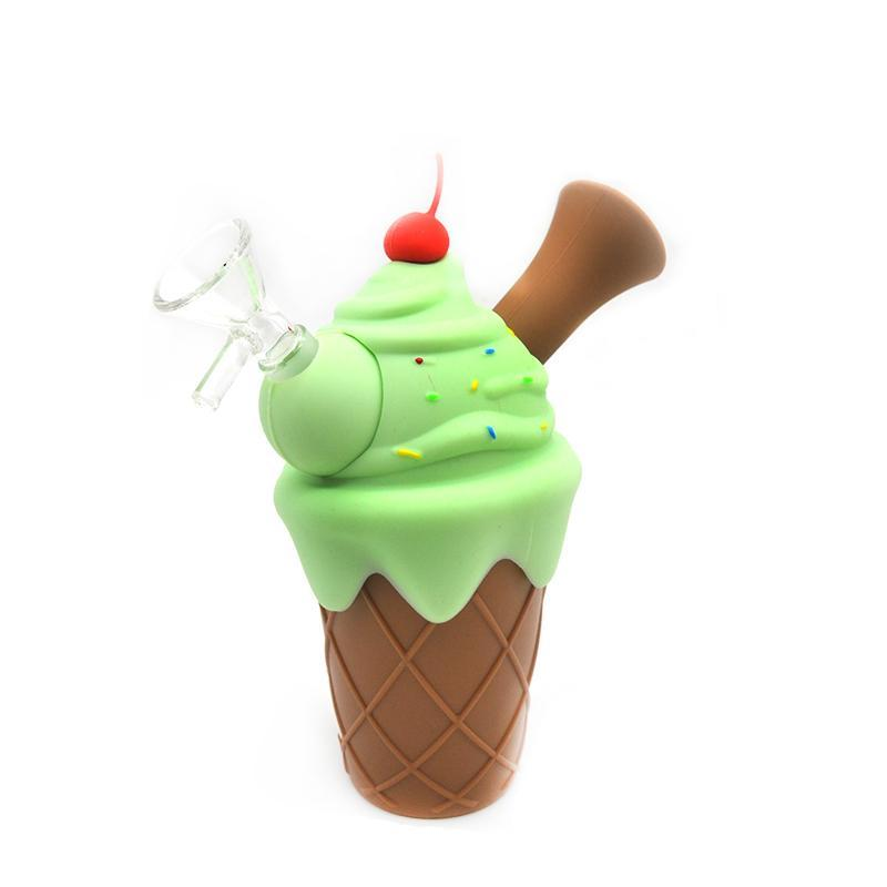 Ice Cream Cone Silicone Mini Bubbler Water Pipe with Glass Bowl Insert