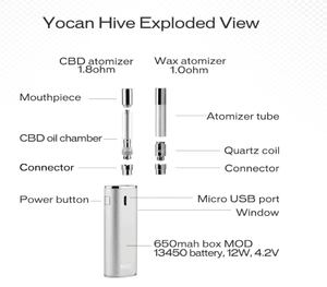 Yocan Hive Atomizer Cartridges for Oil/Wax Concentrates (5 pack)