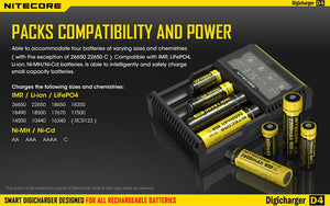 Nitecore D4 Universal Battery Charger Intellicharger 4-Bay LCD Display