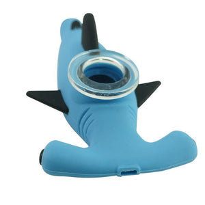 Silicone Shark Pipe with Removable Glass Bowl