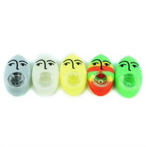 Silicone Face Pipe Male and Female with Glass Bowl