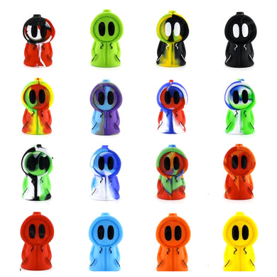 Silicone Ghost Pipe Water Bubbler w/ Glass Bowl