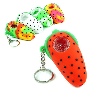 Strawberry Short Baked Silicone Pipe Pendant  Keychain w/ Glass Bowl
