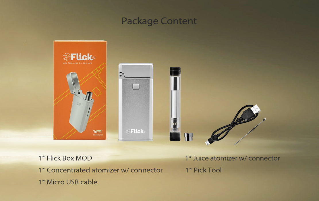 Yocan Flick Concentrate Cartridge Vape & Juice Box Mod Kit (650mAh)