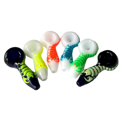 Glow-In-The-Dark Pipe Scorpion Glass Art Spoon Bowls