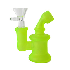 Glow in The Dark Glass Mini Water Pipe Bubbler with Glass Bowl Carb