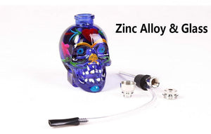 Hand-Painted Skull Glass Recycler Water Smoking Pipe