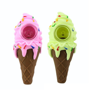 Ice Cream Cone Silicone Pipe with Glass Bowl Insert