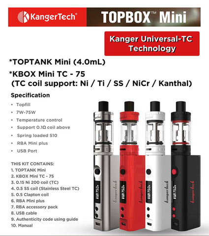 Электронная Сигарета Kanger Topbox Mini Starter Kit Инструкция