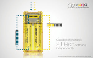 Nitecore Q2 Charger 2-Bay Li-ion/IMR Quick Battery Charger