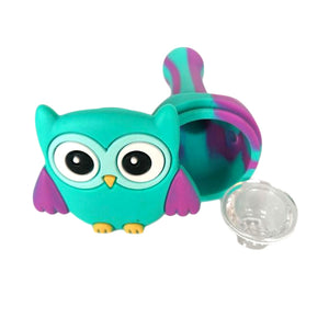 Smoke Owl Silicone Art Pipe w/ Glass Bowl Removable Face