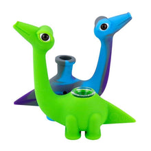 Load image into Gallery viewer, Dinosaur Color Swirl Silicone Water Bubbler Rig w/ Glass Pipe Bowl