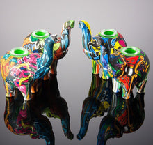 "Load image into Gallery viewer, Pop Art Printed Elephant Silicone Water Pipe w/ Glass Bowl - 4.9"" inch"