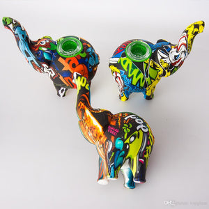 "Pop Art Printed Elephant Silicone Water Pipe w/ Glass Bowl - 4.9"" inch"