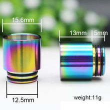 Load image into Gallery viewer, 810 Rainbow Wide Bore Stainless Steel Drip Tip Size Dimension