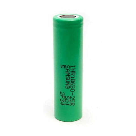 Samsung 25R 18650 INR Li-ion Battery - 2500mAh 20A Green Flat-Top