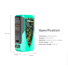 Load image into Gallery viewer, Vaporesso Tarot Baby 85w Mod Battery Specs