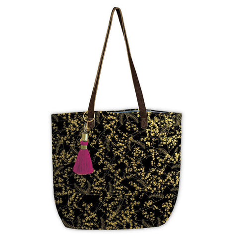 "Bucket Tote ""Black Foiled Flowers""