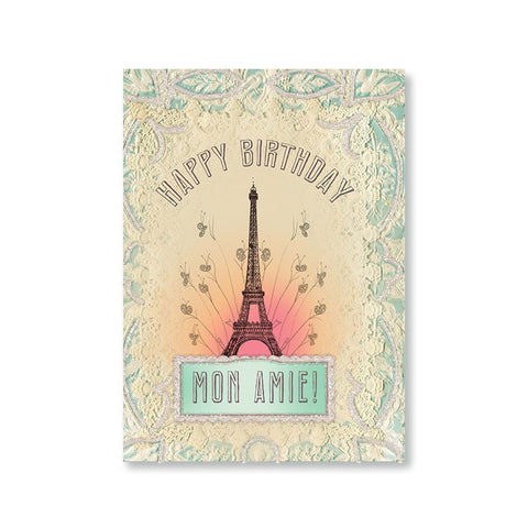 "Greeting Card ""Happy Birthday Mon Amie""