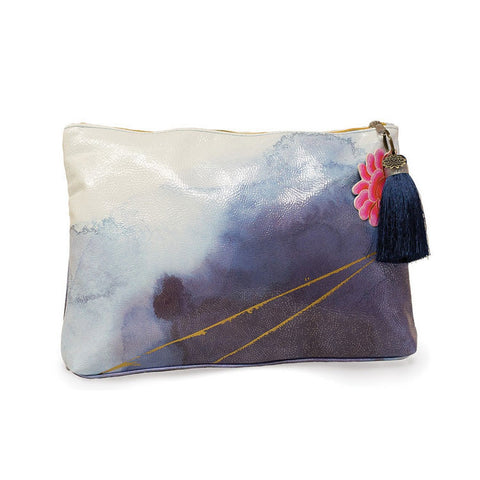 "Large Accessory Pouch ""Indigo Watercolor""