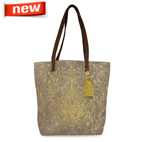 "Bucket Tote ""Paisly Gold""