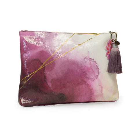 "Large Accessory Pouch ""Plum Watercolor""