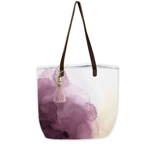 "Bucket Tote ""Plum Watercolor""