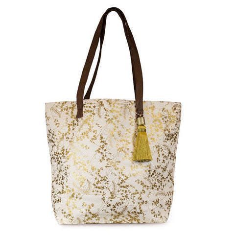 "Bucket Tote ""White Foiled Flowers""