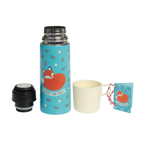 """Rusty the Fox"" Flask and Cup
