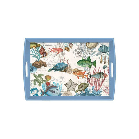 "Decoupage Wooden Tray ""Sea Life""