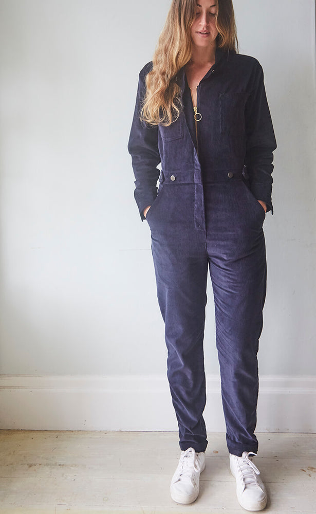 Navy Blue Corduroy Boiler Suit