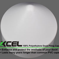 XCEL Polyethylene Dock Piling Cap, Round Cone, 9 Inch White