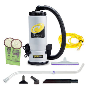ProTeam 107146 QuietPro BP 6 qt. Backpack Vacuum w/ Xover Multi-Surface Telescoping Wand Tool Kit