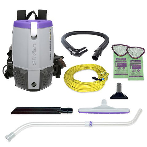 ProTeam 107310 Super Coach Pro 6, 6 qt. Backpack Vacuum w/ Xover Multi-Surface Telescoping Wand Tool Kit