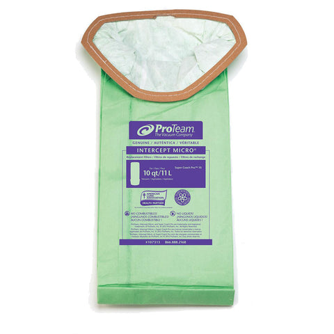 ProTeam 107313 Intercept Micro Filter Bags for Super Coach Pro 10 Backpack Vacuum (10PK)