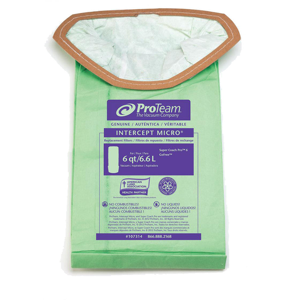 ProTeam 107314 6 qt Intercept Micro Filter Bags for Super Coach Pro 6 Backpack Vacuums